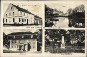 Ak Großwig Dreiheide Sachsen, Teich, Rittergut, Kriegerdenkmal, Gasthof