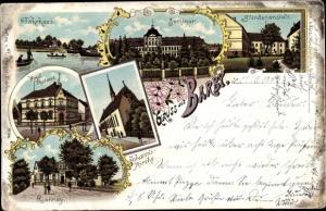 Litho Barby an der Elbe, Fährhaus, Seminar, Blindenanstalt, Kaiserl. Postamt, Ronney
