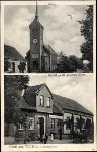 Ak Wörblitz Dommitzsch, Kirche, Gasthof zum goldenen Anker, Kirche