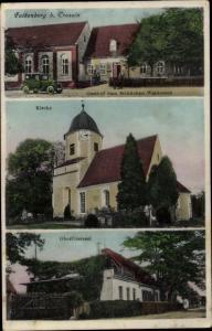 Ak Falkenberg an der Elster, Kirche, Oberförsterei, Gasthof zum fröhlichen Waidmann