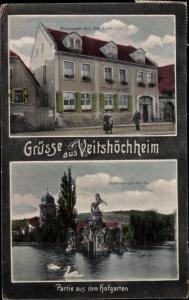 Ak Veitshöchheim in Unterfranken, Pegasusgruppe am See, Würzburger Hof