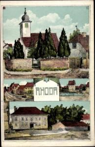 Künstler Ak Rhoda Erfurt in Thüringen, Kirche, Straßenpartien
