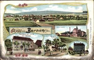 Litho Bornum Bockenem Niedersachsen, Achsenwerk, Schule, Kirche mit alter Linde, Gasthaus zur Linde