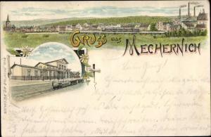 Litho Mechernich in der Eifel, Panorma, Bahnhof, Eisenbahn