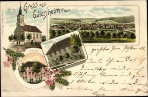 Passepartout Litho Gillersheim Katlenburg-Lindau, Panorama, Kirche, Schule, Pfarrhaus