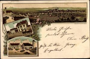 Litho Bad Buchau am Federsee in Oberschwaben, Panorama, Bahnhof, Kirche und Schloss
