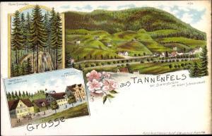 Litho Buhlbach Baiersbronn, Tannenfels, Panorama, Ruine Tannenfels, Gasthaus zur Schwane, Handlung