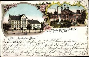 Litho Königsborn Unna im Ruhrgebiet, Badehaus, Hotel Deutsches Haus