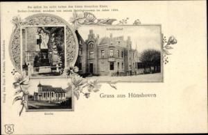 Passepartout Ak Hünshoven Geilenkirchen in Nordrhein Westfalen, Schützenhof, Kirche, Becker Denkmal