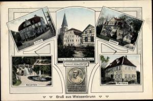 Ak Weißenbrunn in Oberfranken, Schule, Wasserfälle, Gasthof, Heinrich Schaumberger, Schloss