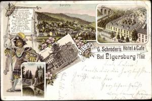 Litho Elgersburg in Thüringen, Panorama, Kurhaus, Elgersburg, Körnbachtal, Pension