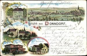 Litho Donndorf Roßleben Wiehe, Klosterschenke, Kloster, Bahnhof, Zum Reichsadler