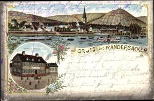 Litho Randersacker Würzburg am Main Unterfranken, Partie am Wasser, Gasthaus zur Krone