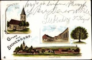 Litho Beckendorf Neindorf Oschersleben, Kirche, Straße, Eiche aus den Freiheitskriegen, Totale