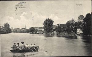 Judaika Ak Dessau in Sachsen Anhalt, Muldpartie, Synagoge, Ruderboot