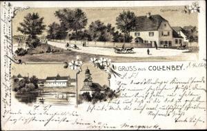 Litho Collenbey Kollenbey Schkopau im Saalekreis, Gasthaus, Partie am See, Kirche