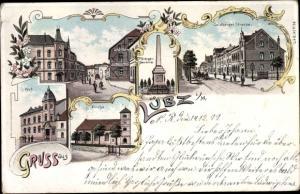 Litho Lübz in Mecklenburg, Kriegerdenkmal, Goldberger Straße, Post, Kirche, Straßenpartie