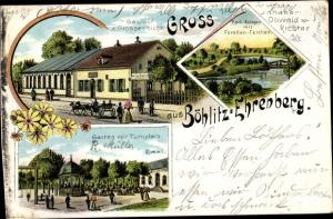 Litho Böhlitz Ehrenberg Leipzig in Sachsen, Park Anlagen mit Forellen Teichen, Gasthof