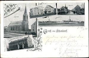 Ak Atzendorf Staßfurt im Salzlandkreis, Chausee, Buchbinderei Carl Kaiser, Kirche, Partie am Wasser