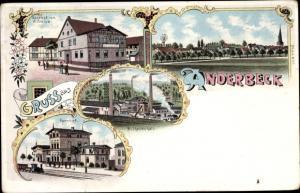 Litho Anderbeck Huy am Harz, Gasthof, Wilhelmshalt, Bahnhof, Panorama