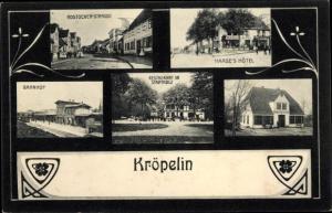 Passepartout Ak Kröpelin in Mecklenburg, Haase's Hotel, Restaurant, Rostocker Straße, Bahnhof
