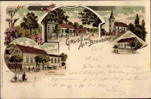 Ak Altbensdorf Bensdorf, Kirche, Schule, Gasthof Karl Koch, Friedenseiche, Gasthof Herm. Liebereuz