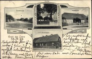 Ak Laerz Lärz Mecklenburgische Seenplatte, Kirche, Dorfstraße, Pfarrhaus, Schulhaus