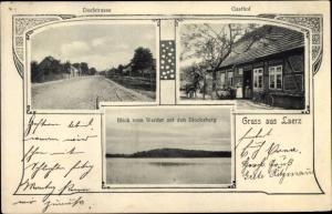 Ak Laerz Lärz Mecklenburgische Seenplatte, Dorfstraße, Gasthof, Blick vom Werder auf den Blocksberg