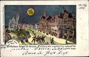 Ak Dresden Löbtau, Drei Kaiser Hof, Betrunkene in der Stadt, Mond