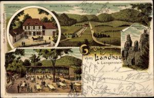 Litho Langenstein Halberstadt im Harz, Hoppelberg, Gläserner Mönch, Militär Schießstand, Landhaus