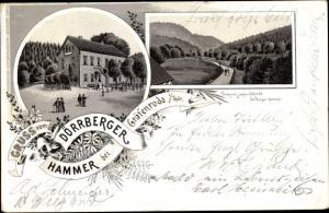 Litho Gräfenroda im Tal der Wilden Gera Thüringen, Dörberger Hammer, Gasthaus, Panorama