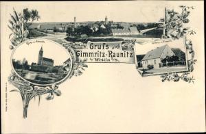 Ak Gimritz Wettin Löbejün, Panorama, Kirche zu Grimmritz, Gasthaus