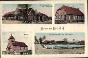 Ak Eversdorf Salzwedel, Gastwirtschaft, Schule, Kirche, Interessententeich und Dorfeinblick