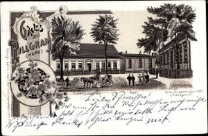 Litho Pillgram Jacobsdorf, Tichter's Gasthof, Saal, Weinbergs Kolonialgeschäft