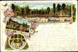 Litho Gera in Thüringen, Waldhaus, Park