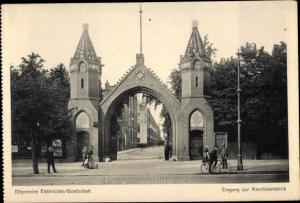 Ak Berlin Wedding, AEG Eingangstor in der Brunnenstrasse, Eingang zur Maschinenfabrik, Beamtentor