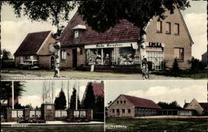 Ak Sedelsberg Saterland in Niedersachsen, Teilansichten, Ehrenmal, Volksschule,  Gemischtwaren Edeka
