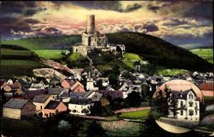 Ak Burgschwalbach Rhein Lahn Kreis, Pension Schnabel, Ruine, Ortspanorama