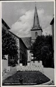 Ak Hofheim in Unterfranken, Partie am Rathaus, Kirchturm
