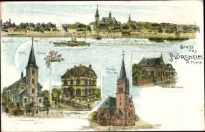 Litho Flörsheim am Main, Panorama vom Ort, Kath. Kirche, Ev. Kirche, Krankenhaus, Schwesternhaus