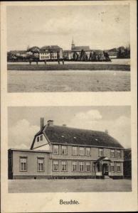 Ak Beuchte bei Schladen Werla, Blick vom Feld auf die Ortschaft, Straßenansicht eines Gebäudes