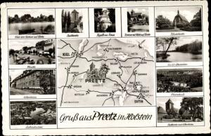 Landkarten Ak Preetz in Holstein, Straßenpartie, Panorama, Klosterkirche, Kirchsee, Landkarte