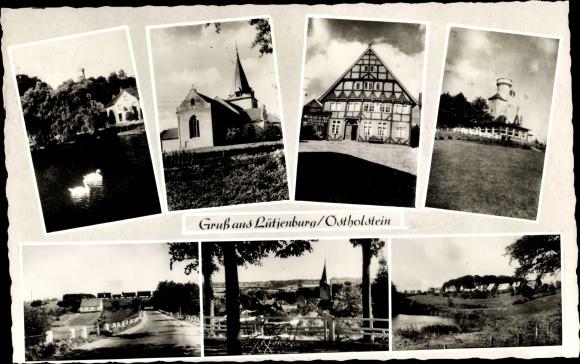 Ak Lütjenburg in Schleswig Holstein, Kirche, Fachwerkhaus, Totalansicht, Schwäne 0