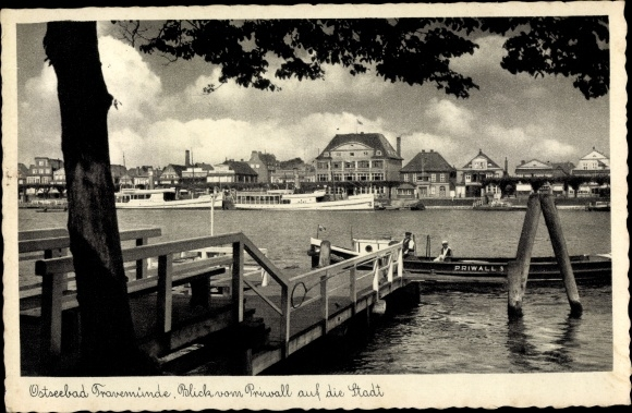 Ak Travemünde Lübeck, Blick vom Priwall auf die Stadt 0