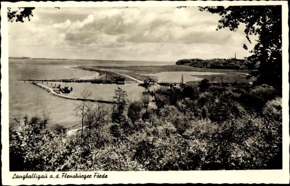 Ak Langballigau an der Flensburger Förde, Anlegestelle, Das schöne Angeln 0