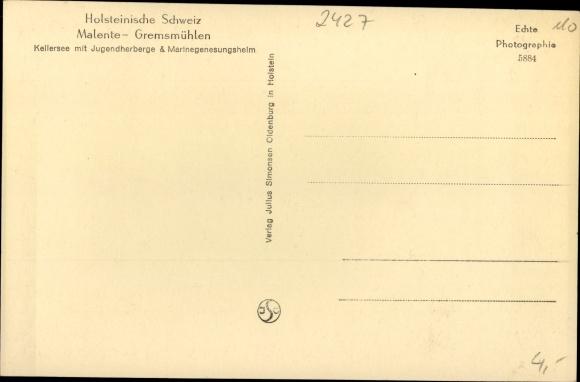 Ak Gremsmühlen Malente in Ostholstein, Kellersee mit Jugendherberge und Marinegenesungsheim 1