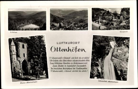 Ak Ottenhöfen im Schwarzwald, Ruine Allerheiligen, Wasserfall, Wildsee, Kurpark 0