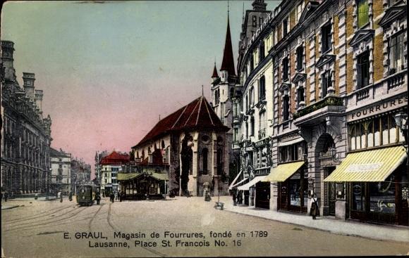 Ak Lausanne Kanton Waadt, Place St Francois 0