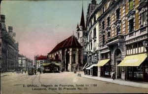 Ak Lausanne Kanton Waadt, Place St Francois