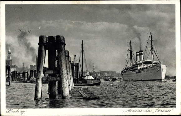 Ak Hamburg, Ausreise der Oceana, Dampfschiff, HAPAG 0